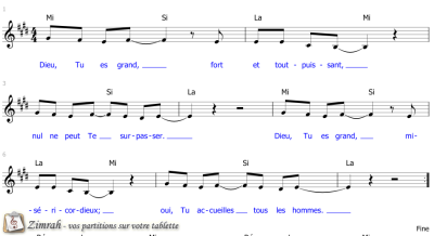 Zimrah partition : « Dieu, Tu es grand » par Markus Fuchs