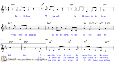 Zimrah partition : « Célébrez l'Eternel » par Sylvain Freymond