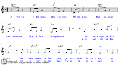 Zimrah partition : « Avec Toi » par Sylvain Freymond