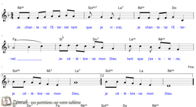 Zimrah partition : « Je chanterai l'Eternel » par John Van Den Hogen (book1} N°257)