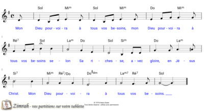 Zimrah partition : « Mon Dieu pourvoira » par Heinz Suter (book1} N°48)